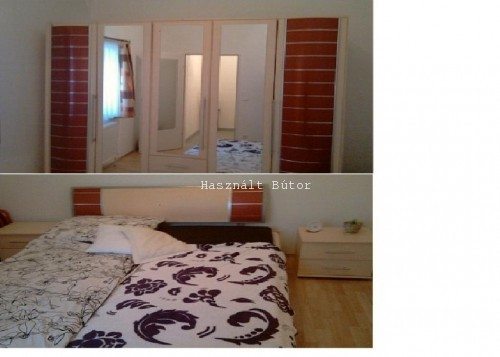 Komplett háló Bordó,juhar gardrób ,francia ágy - Használt bútor