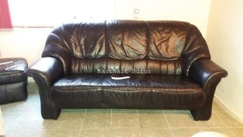 Év végi kiárusítás! -10 akció! Fekete kanapé 2 fotel. Marha bőr ...